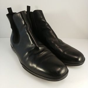 Prada Black Leather Chelsea Boot Mens Size 10
